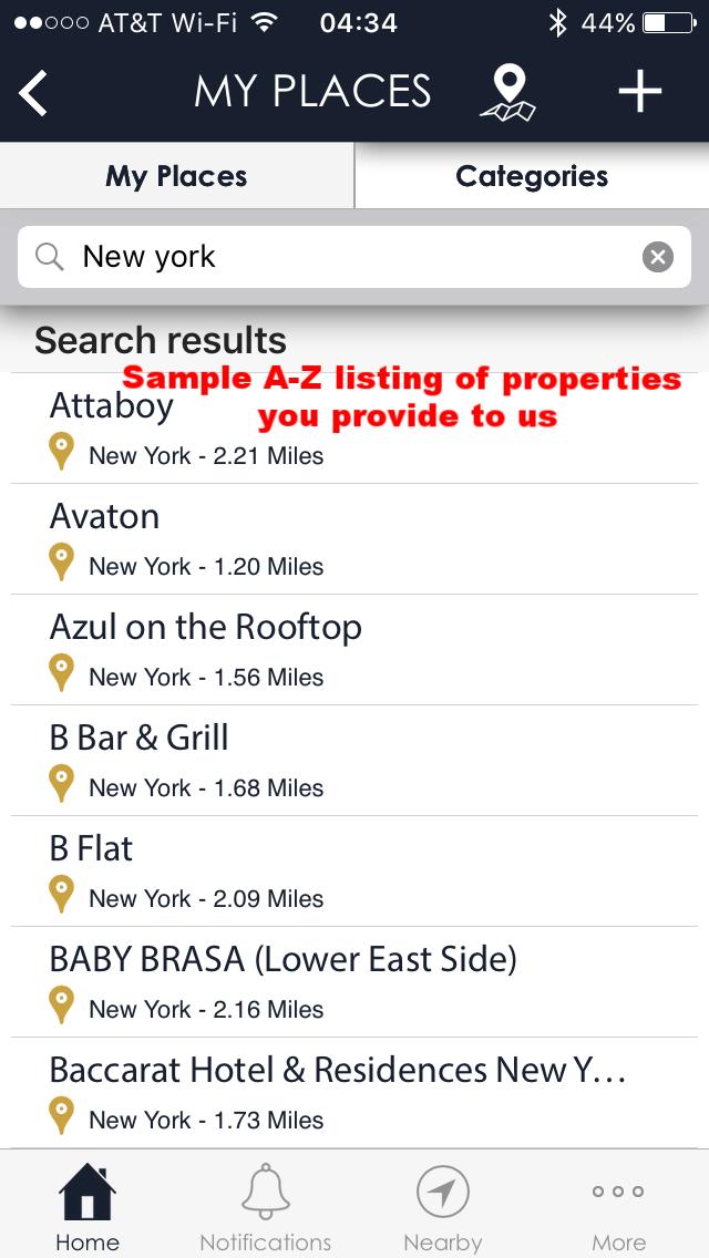 A- Z Place listing inside app