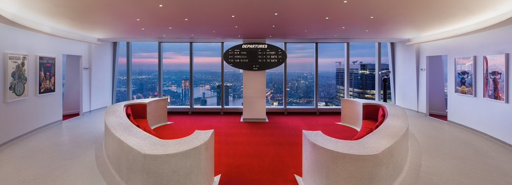 TWA Airlines Hotel lounge inside One World Trade Center, NYC
