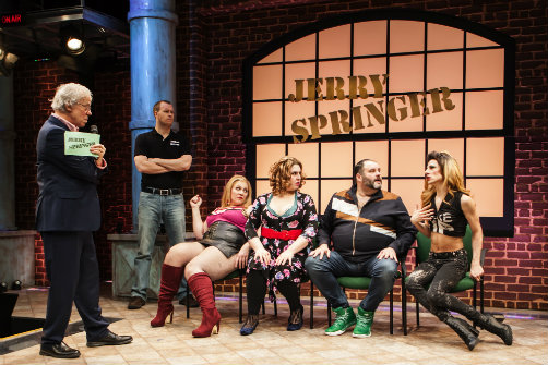 L-R: Terrence Mann, Billy Hepfinger, Beth Kirkpatrick, Florrie Bagel, Luke Grooms, and Sean Patrick Doyle in  Jerry Springer – The Opera . Photo by Monique Carboni.