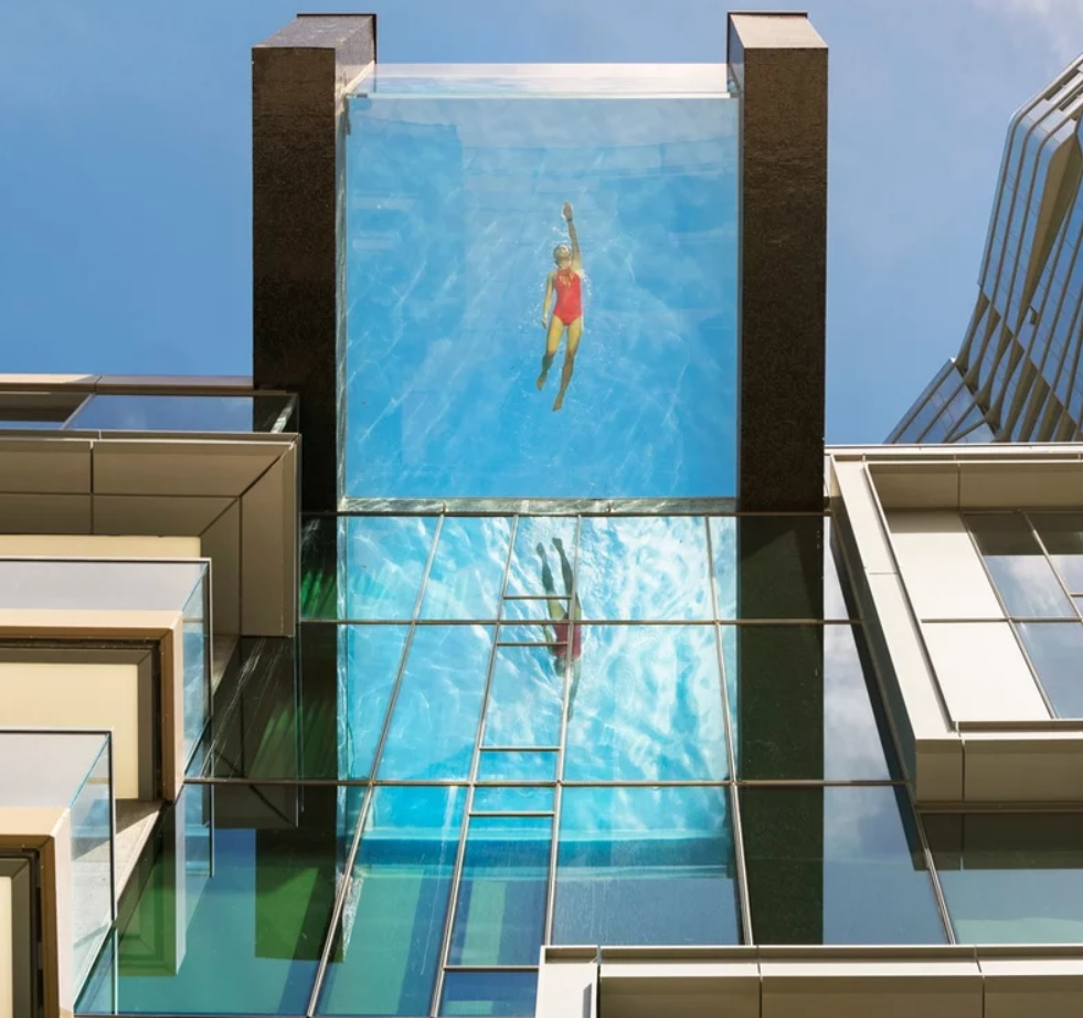 Are you brave enough to swim in a pool suspended 80 feet in the air?