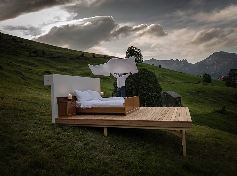 The butler getting your hotel bed ready in the Swiss Alps.
