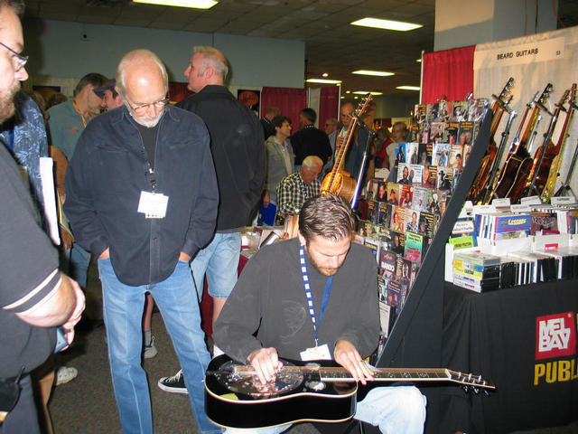 Chet with the late Mike Auldridge and Rod Ickes at the 2006 IBMA