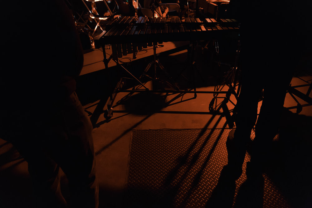 "Shadows from the percussion section during ""The Rite of Spring."""