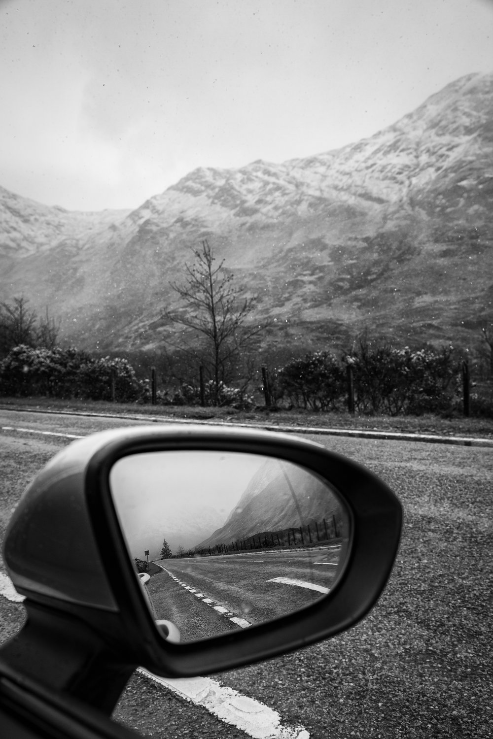 Snow on the Drive to Skye