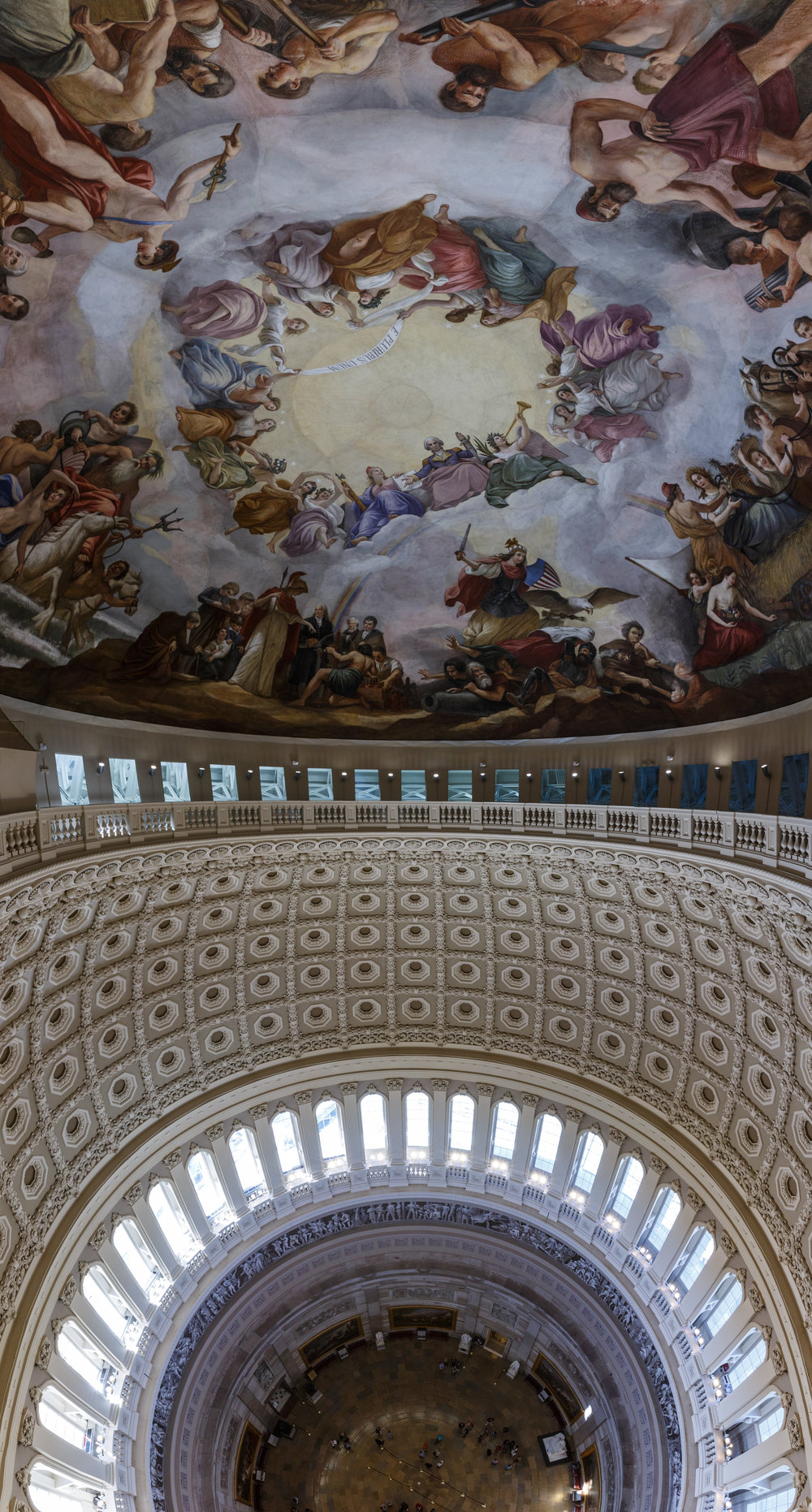Standing at the top.  The Apotheosis of George Washington  takes on a new life when seen up close.