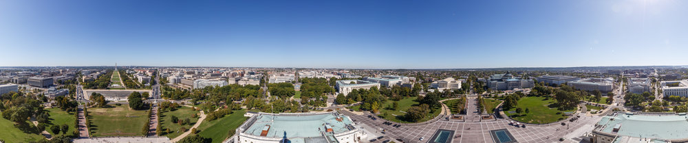 The panoramic views from west to south. The Mall, Union Station, the Supreme Court, Library of Congress, and South Capitol Stree towards Nats Stadium.