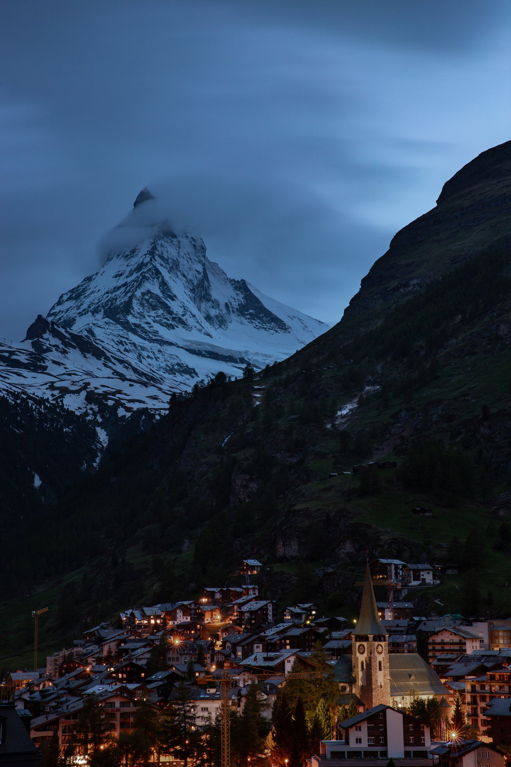 Night views over Zermatt and the Matterhorn