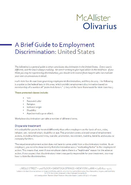 A Brief Guide to Employment Discrimination: United States