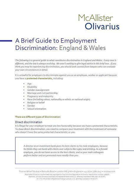 A Brief Guide to Employment Discrimination: England & Wales