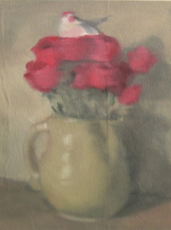 Bird Nesting in Roses; oil on canvas;16%22x12%22;2012.jpg