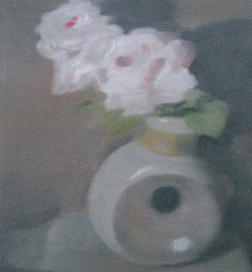 Peonies in Modern Vase;oil on canvas;18%22x18%22;2009.JPG
