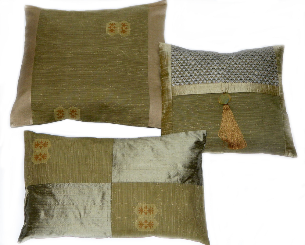 Top left: KP 276A, 18 x 18 in. Bottom left: KP276C, 13 x 20 in. Right: OP 428A, 15 x 15 in. with silk tassel and bone amulet trim