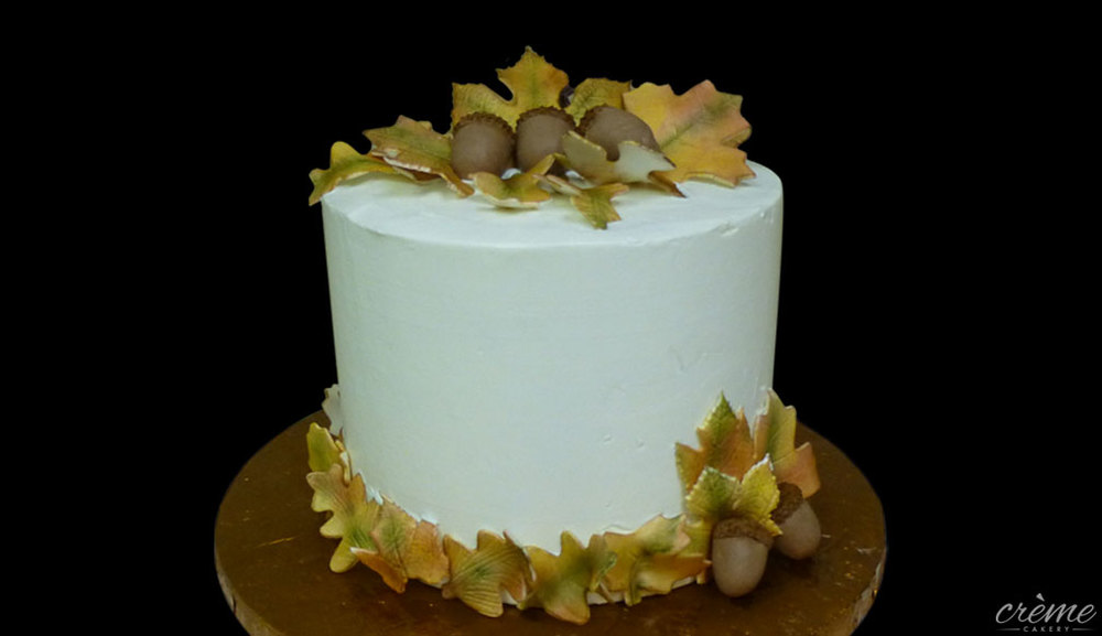 Buttercream Autumn-Themed Wedding Anniversary Cake