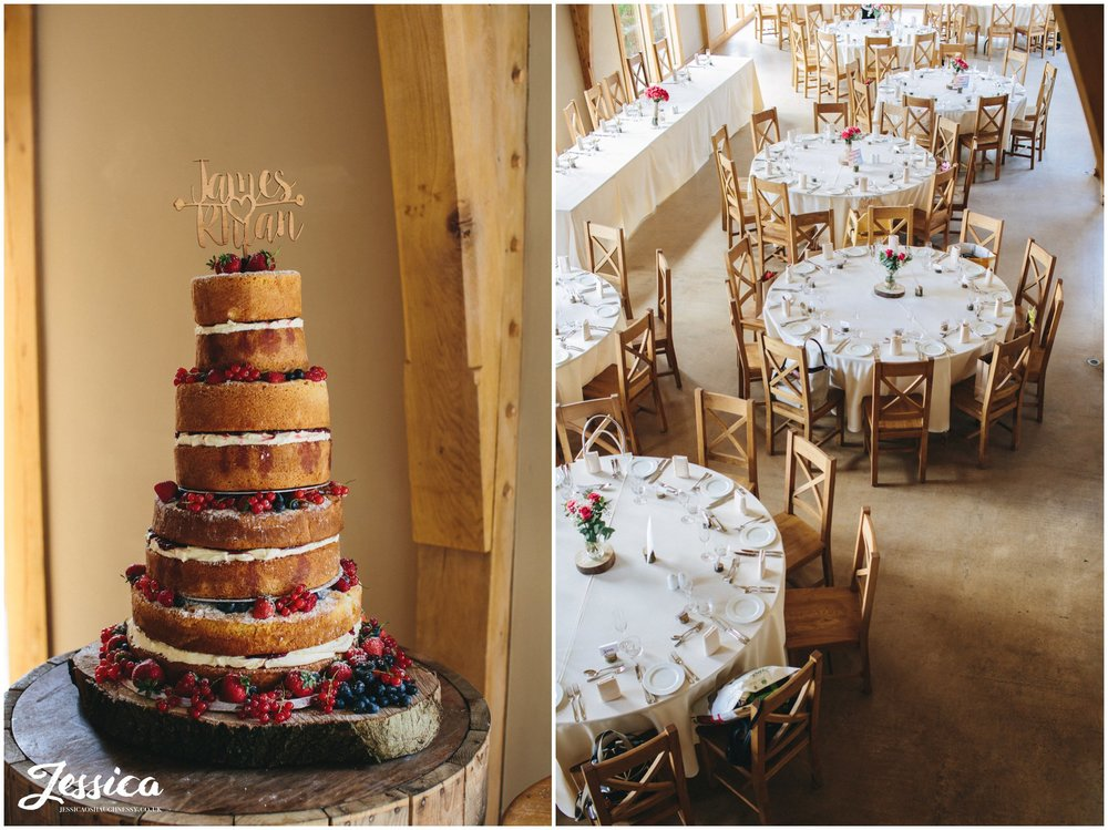 rustic naked cake in the barn at tower hill barns, north wales