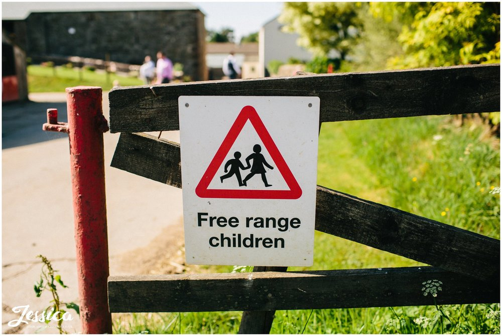 Free range children sign at Three Hills Barn, cumbria wedding photographer