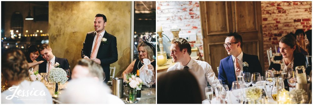 a wedding in manchester - everyone laughing during the speeches