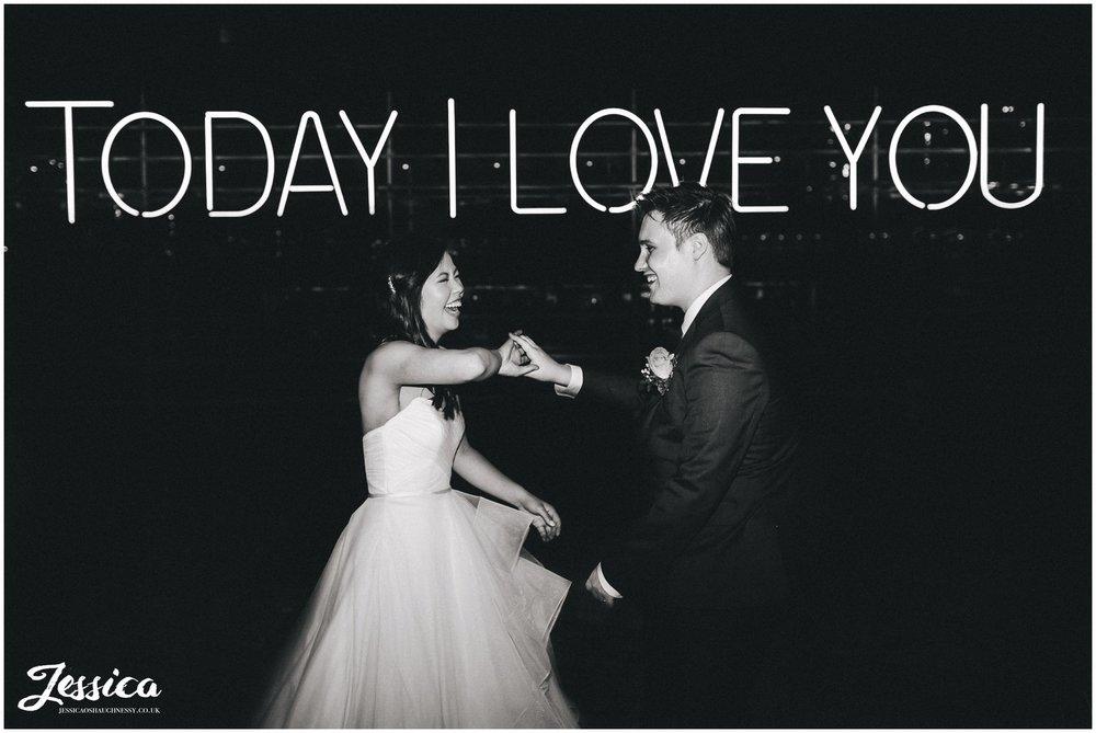 media city light show - today i love you - manchester wedding