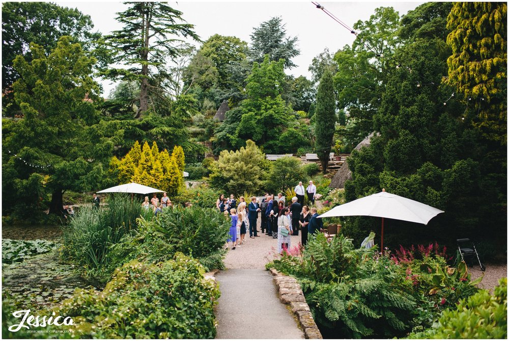 guests enjoy themselves in the gardens before the wedding ceremony at ness gardens