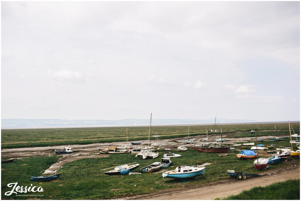 photograph of boats taken from sheldrakes in heswall, wirral