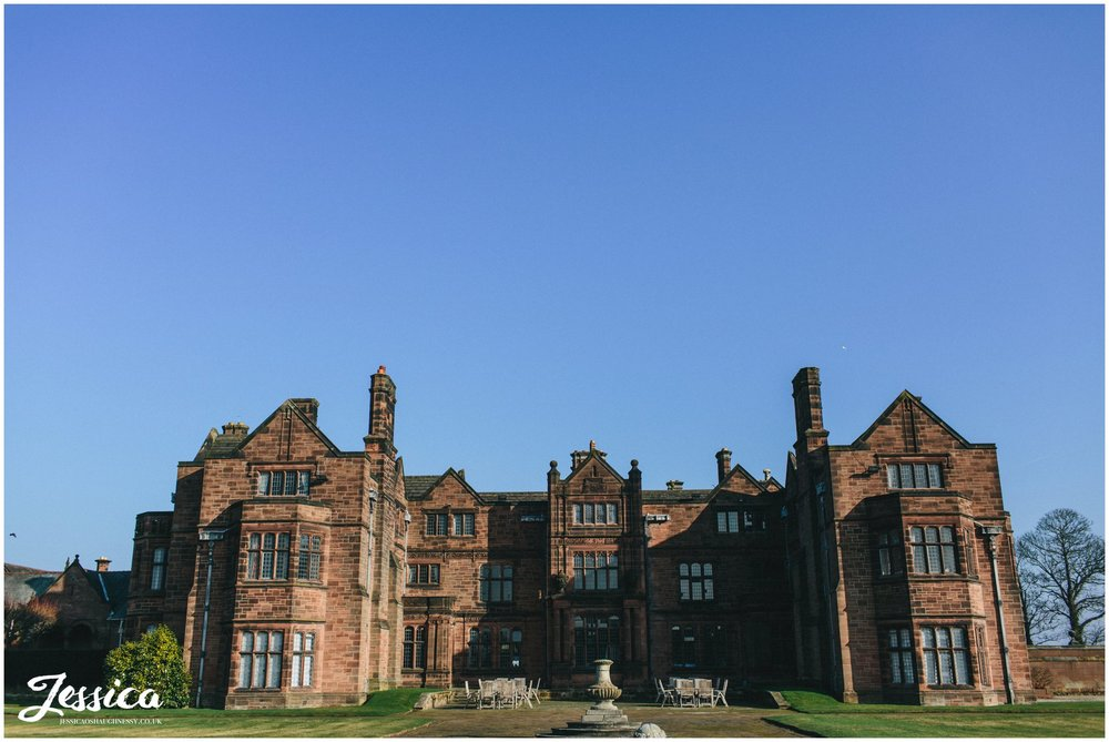 Thornton Manor surrounded by blue sky