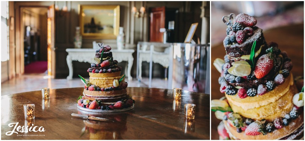 rustic wedding cake topped with flowers & fruit - thornton manor wedding