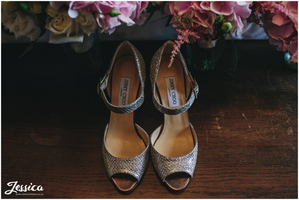 jimmy choo's for the bride on her wedding day in cheshire