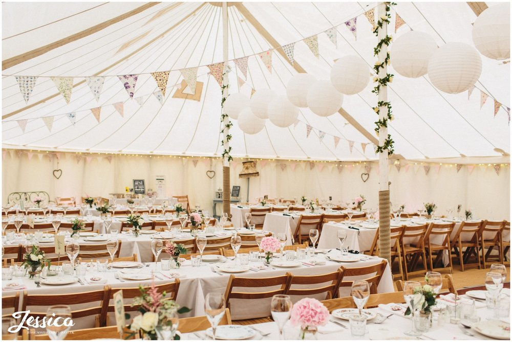vintage tea-party wedding marquee at the cholmondeley arms