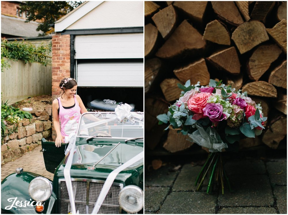 bridal bouquet photographed in front of chopped logs