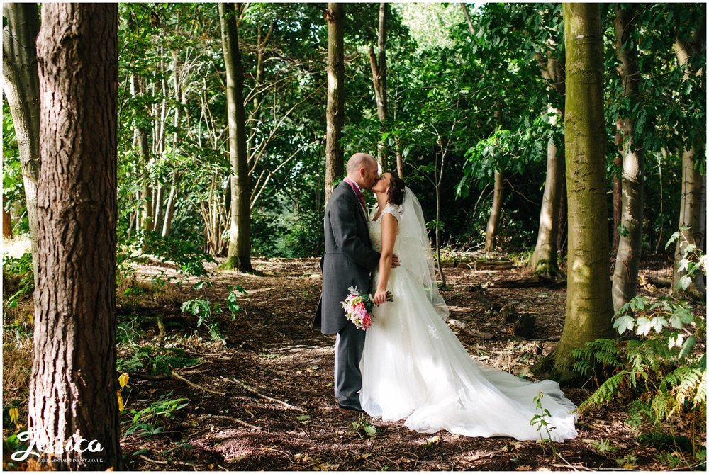 newly wed's in the woodland at their cheshire wedding