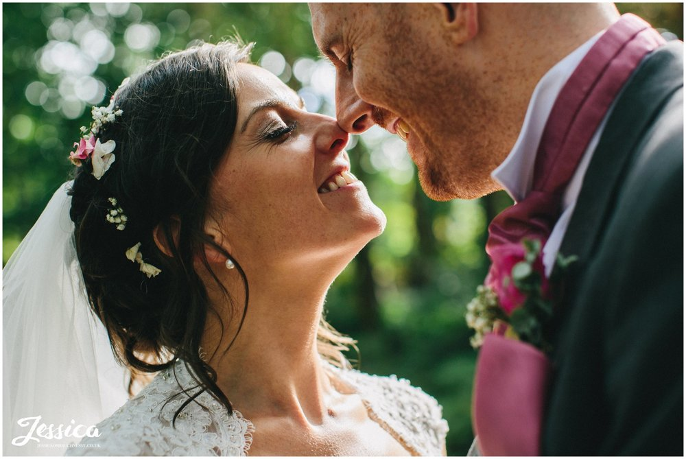 close up of bride & groom on their wedding at - cheshire wedding photographer