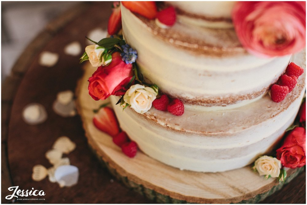 detail close up of rustic naked cake in north wales