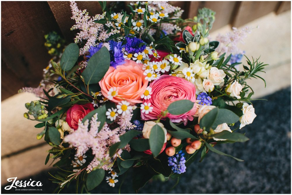 rustic bridal bouquet on the morning of the wedding