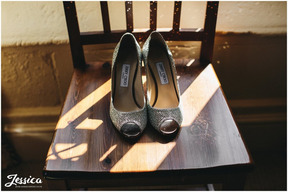 jimmy choo bridal shoes for a wedding in shropshire
