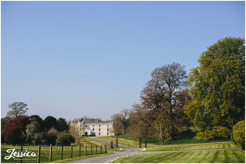 view of Combermere Abbey from the driveway