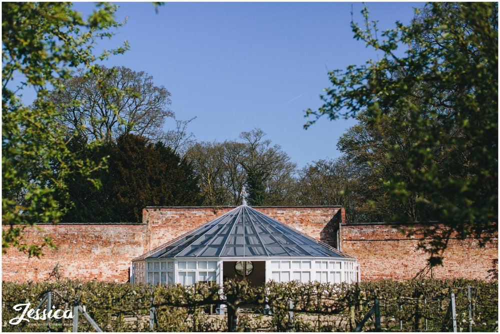 the glasshouse at Combermere Abbey ready for the wedding ceremony