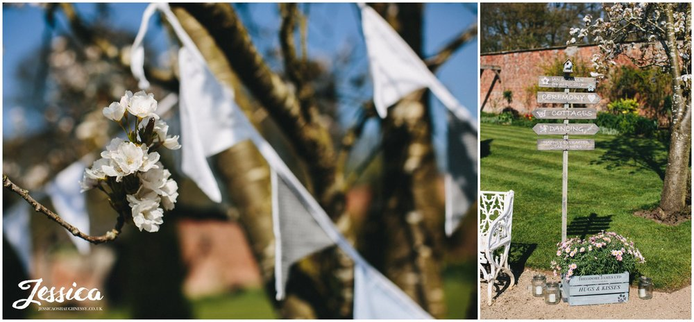 rustic wedding details decorate the grounds of Combermere Abbey