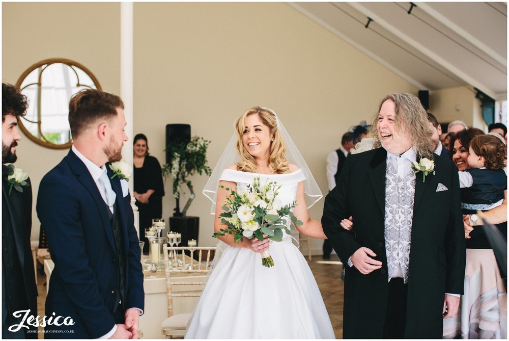 bride & groom see each other for the first time on their wedding day