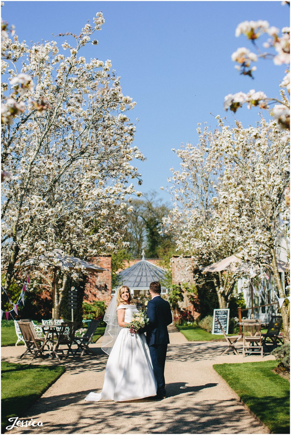 couple stand between blossom tree's on their wedding day at Combermere Abbey - shropshire wedding photographer