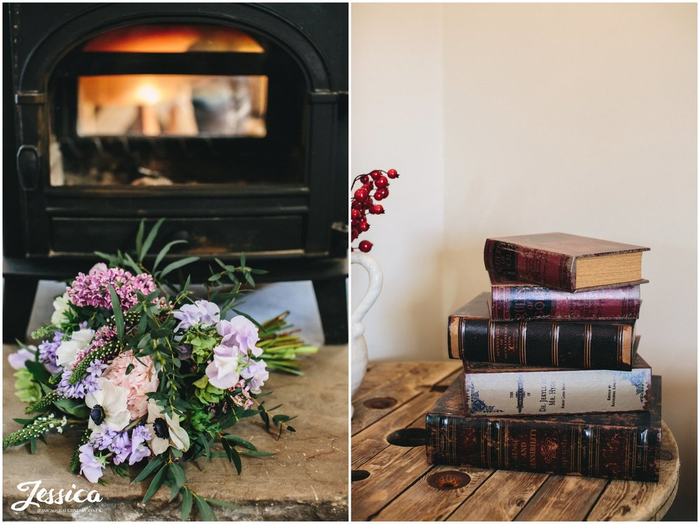 bridal bouquet in front of log burner