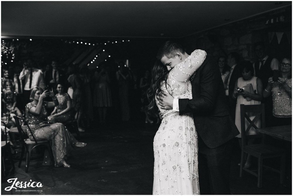 bride & groom share their first dance at tower hill barns