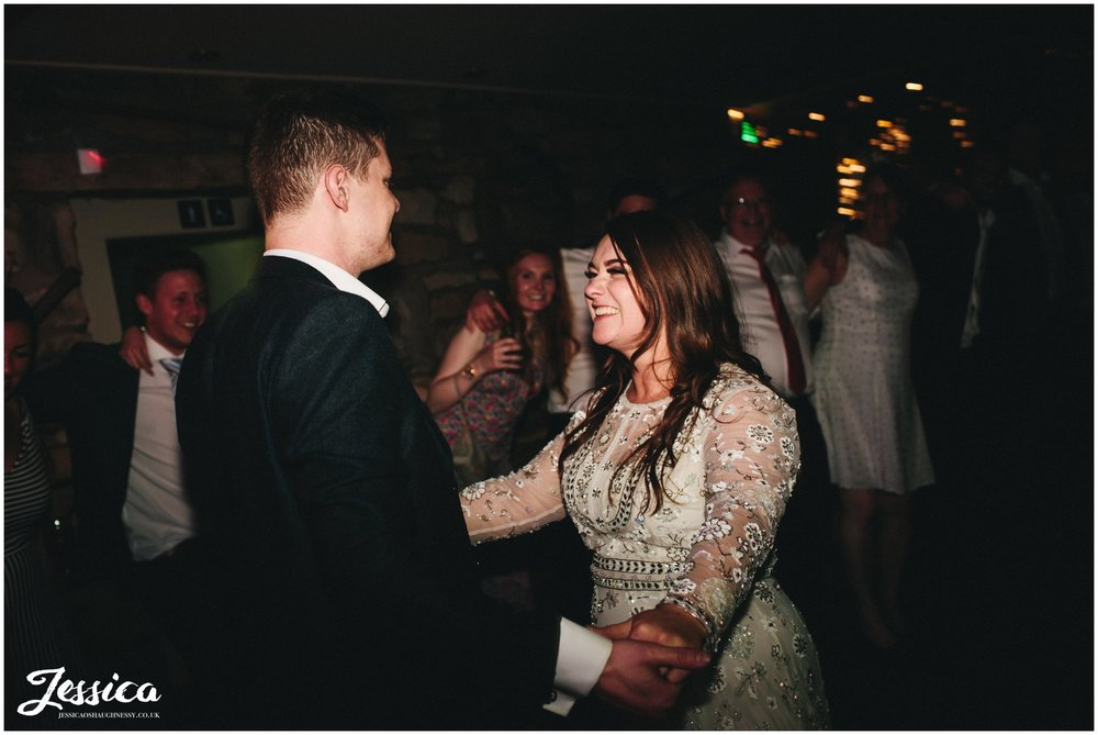 newly wed's dancing to the band at tower hill barns, wrexham