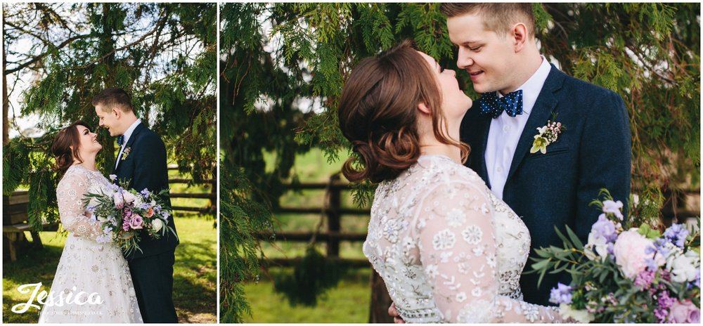 newly wed portraits under the tree at tower hill barns