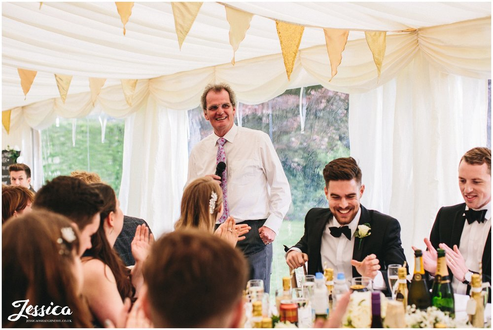 father of the bride giving his speech - trevor hall wedding photography