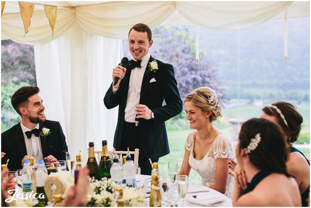 groom's speech at trevor hall in north wales