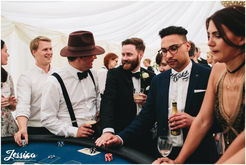 wedding guests gambling in the casino