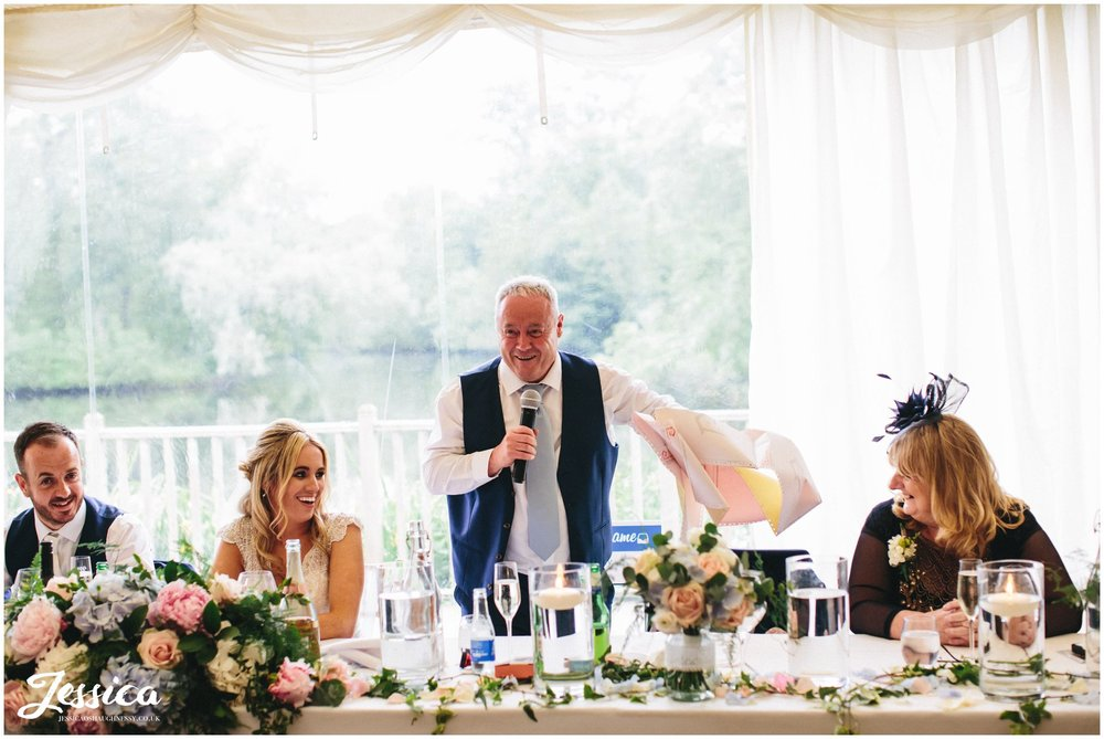 father of the bride gives speech at thornton manor