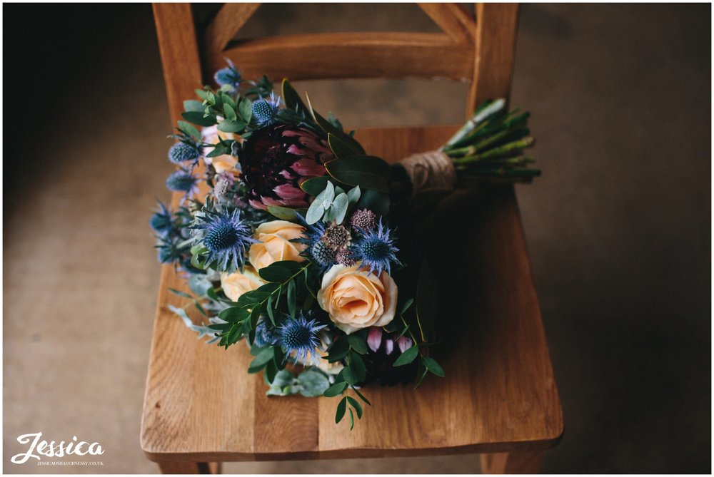 rustic bridal bouquet for a tower hill barns wedding