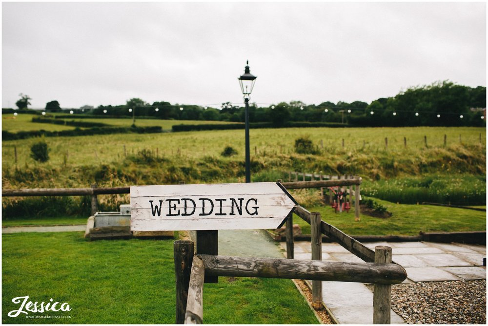 tower hill barns wedding sign