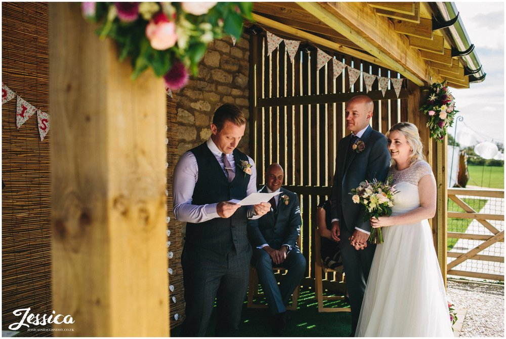 guests does reading during a yorkshire wedding ceremony