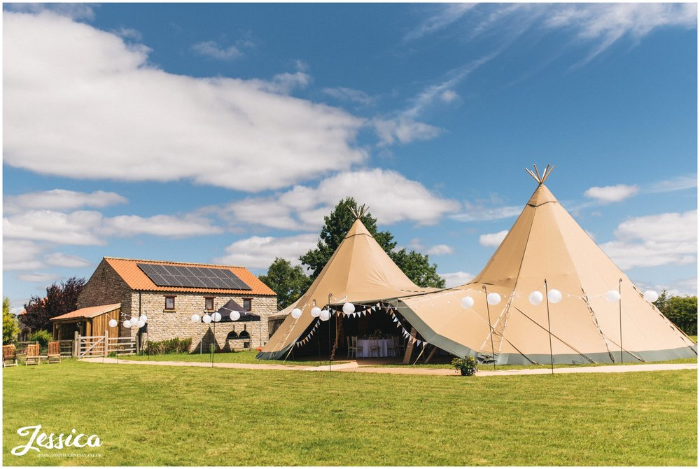 tipi ready for the wedding celebrations - tipi wedding in yorkshire